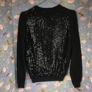 Forever 21 black sequin crew neck sweater Sz L